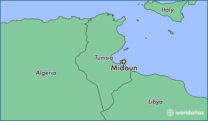 map showing the location of Midoun