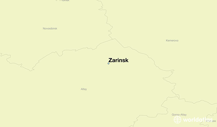 map showing the location of Zarinsk