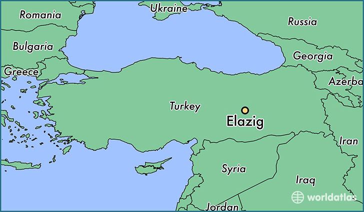 map showing the location of Elazig
