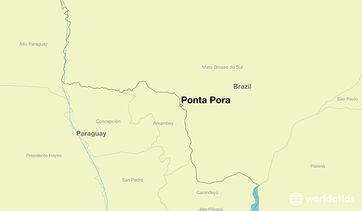 map showing the location of Ponta Pora