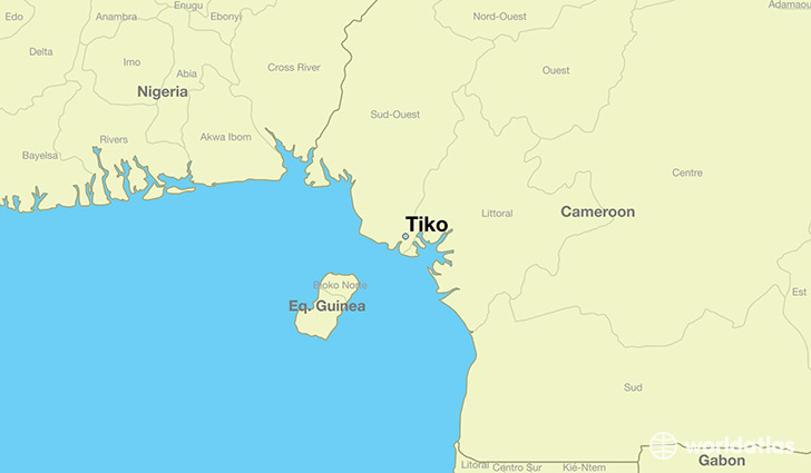 map showing the location of Tiko