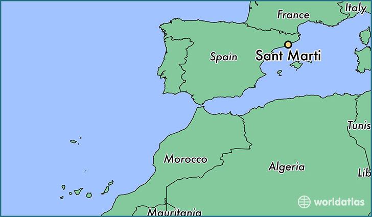 map showing the location of Sant Marti