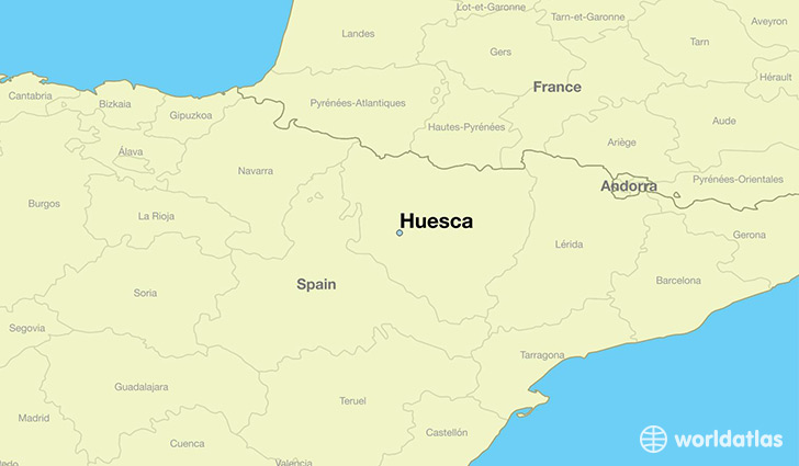 map showing the location of Huesca