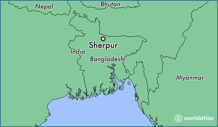map showing the location of Sherpur