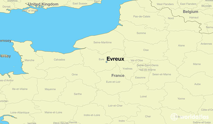 map showing the location of Evreux