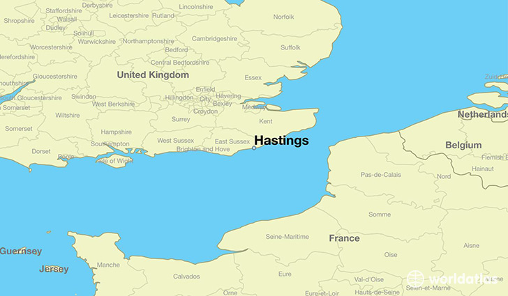 Where is hastings england hastings england map worldatlas map showing the location of hastings gumiabroncs Choice Image