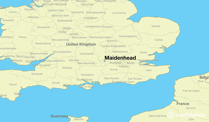 map showing the location of Maidenhead