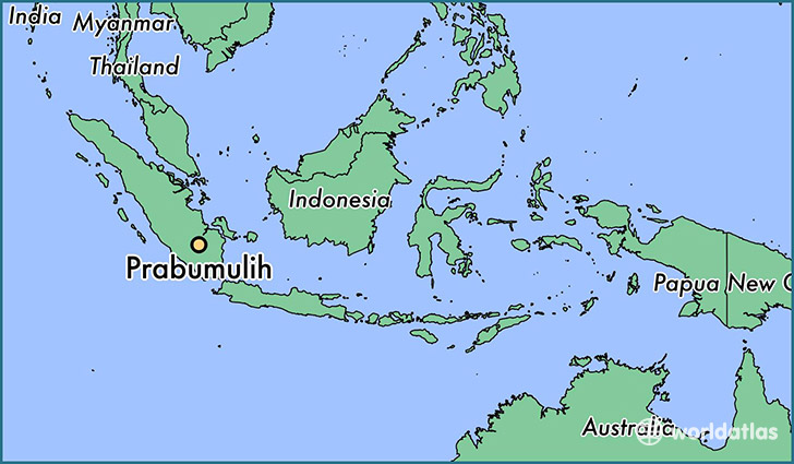 map showing the location of Prabumulih