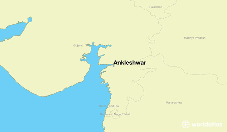 map showing the location of Ankleshwar