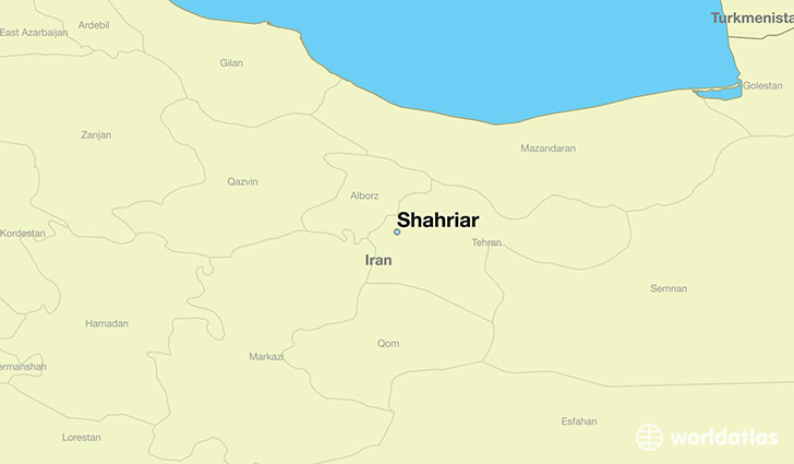 map showing the location of Shahriar