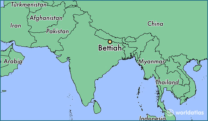 map showing the location of Bettiah