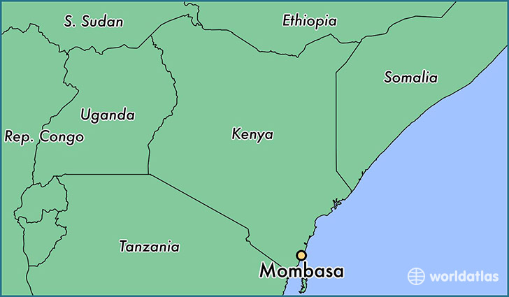 map showing the location of Mombasa