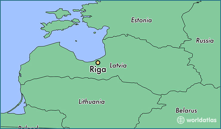 map showing the location of Riga