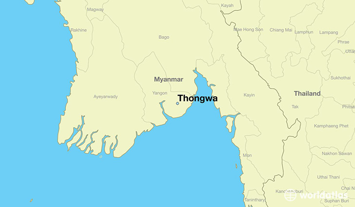 map showing the location of Thongwa