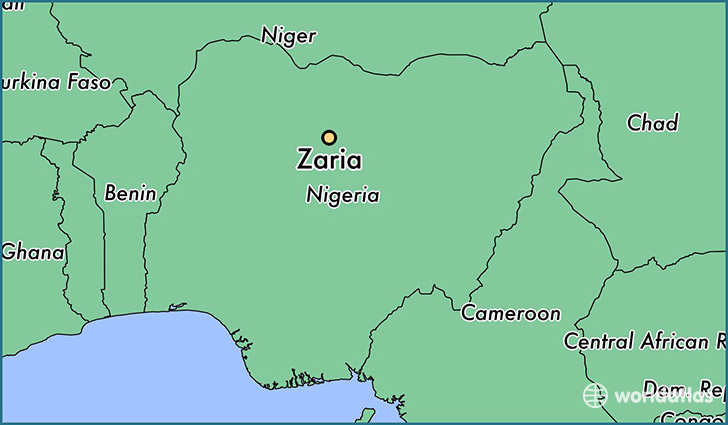 map showing the location of Zaria