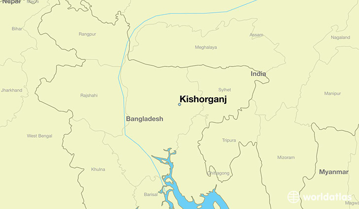 map showing the location of Kishorganj