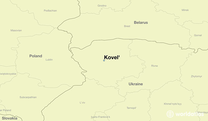 map showing the location of Kovel'