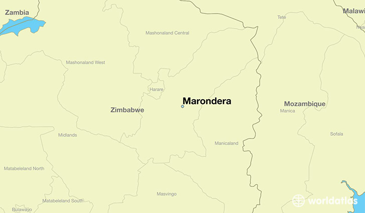 map showing the location of Marondera
