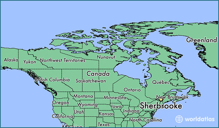 map showing the location of Sherbrooke