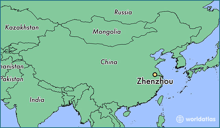 map showing the location of Zhenzhou
