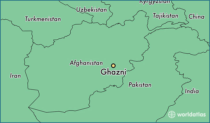 map showing the location of Ghazni