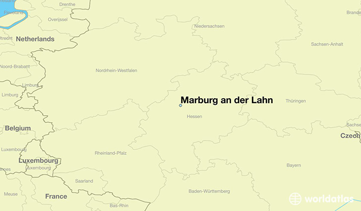 map showing the location of Marburg an der Lahn