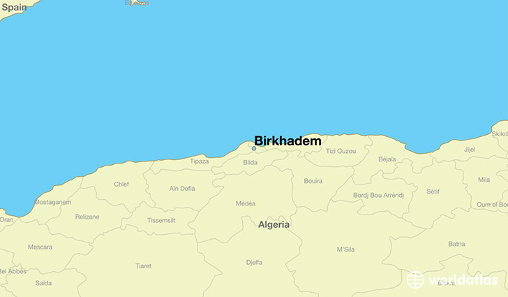 map showing the location of Birkhadem