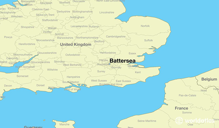 map showing the location of Battersea