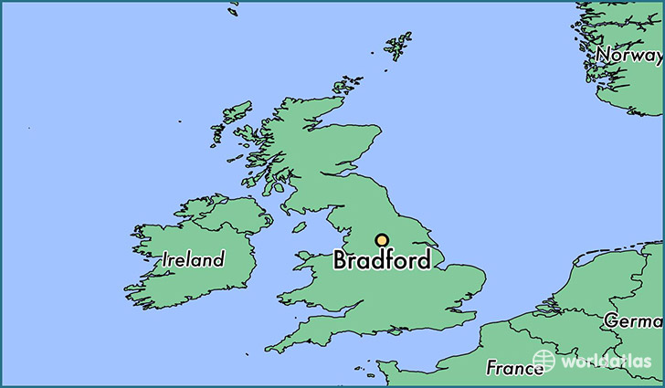 map showing the location of Bradford