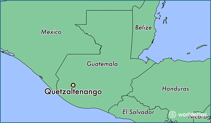 map showing the location of Quetzaltenango
