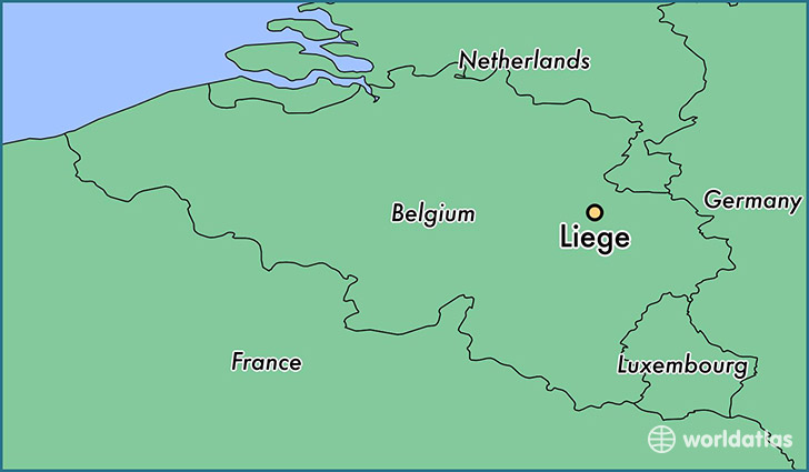 map showing the location of liege