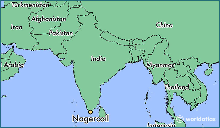 map showing the location of Nagercoil