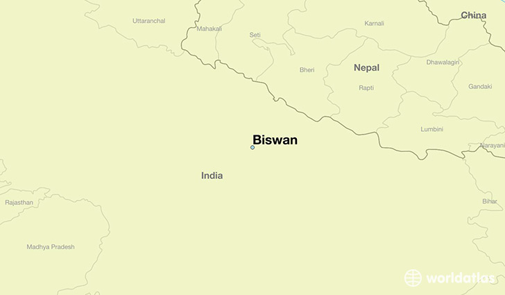 map showing the location of Biswan