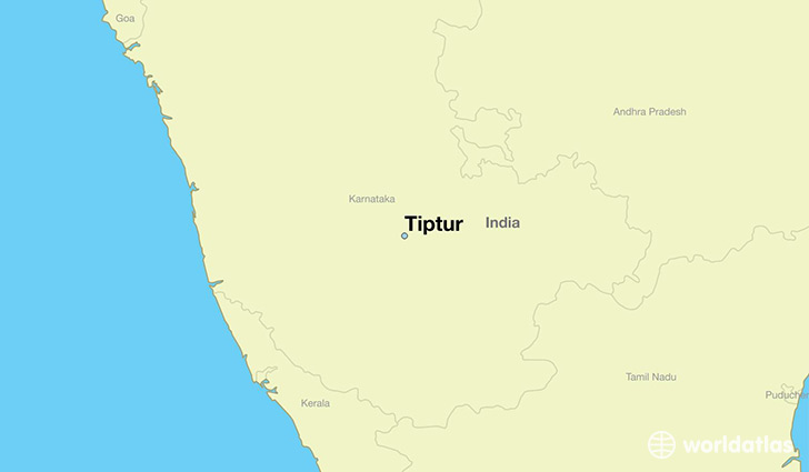 map showing the location of Tiptur