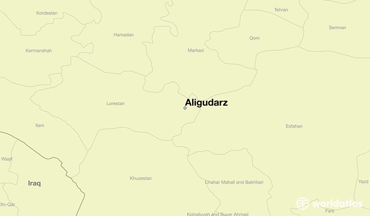 map showing the location of Aligudarz