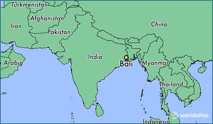 map showing the location of Bali