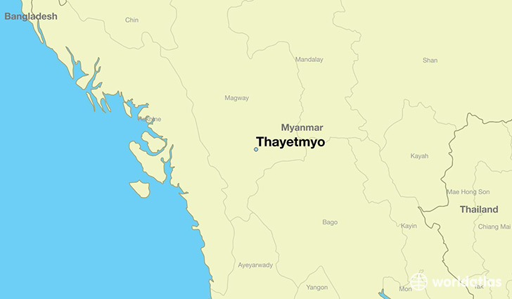 map showing the location of Thayetmyo