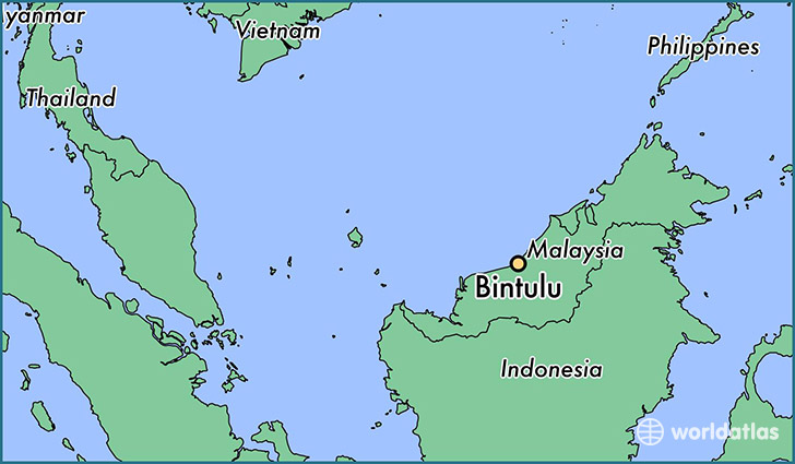 map showing the location of Bintulu
