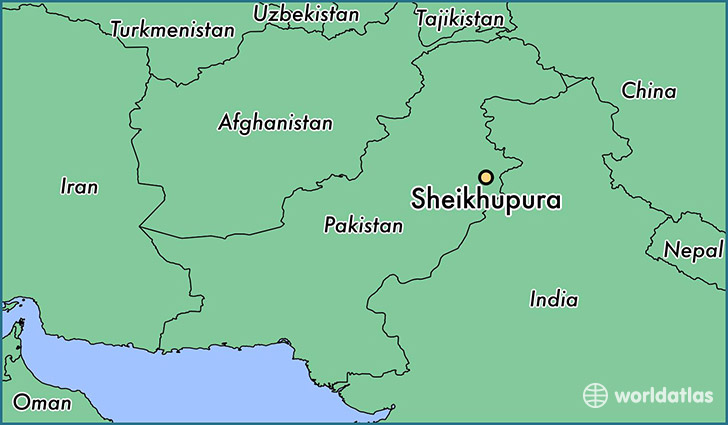 map showing the location of Sheikhupura