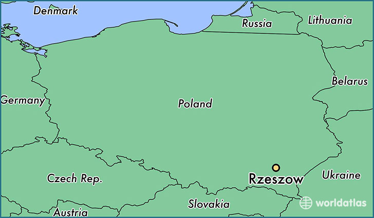 map showing the location of Rzeszow