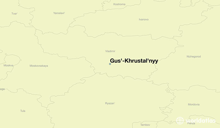 map showing the location of Gus'-Khrustal'nyy