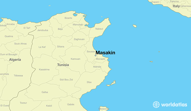 map showing the location of Masakin