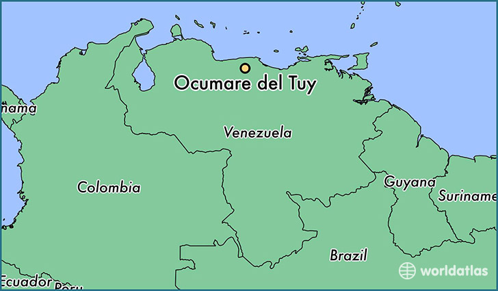 map showing the location of Ocumare del Tuy