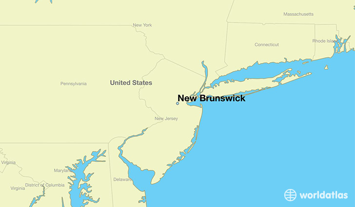 map showing the location of New Brunswick
