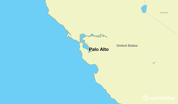 map showing the location of Palo Alto