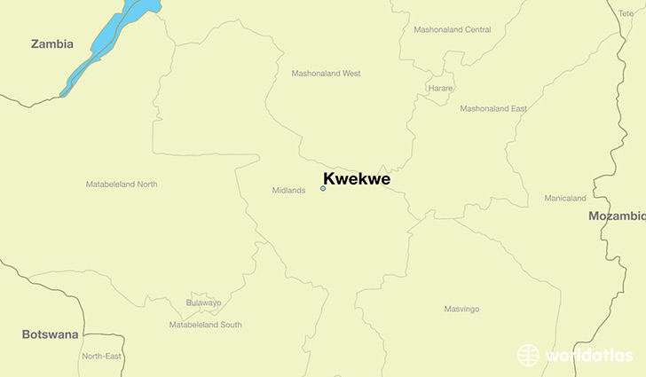 map showing the location of Kwekwe