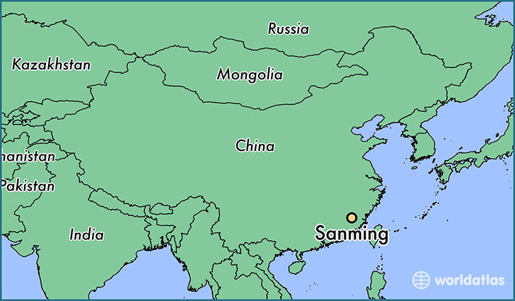 map showing the location of Sanming