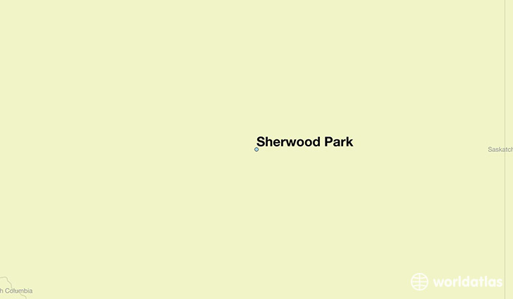 map showing the location of Sherwood Park