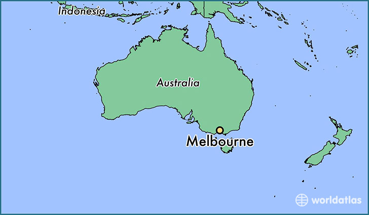 map showing the location of Melbourne