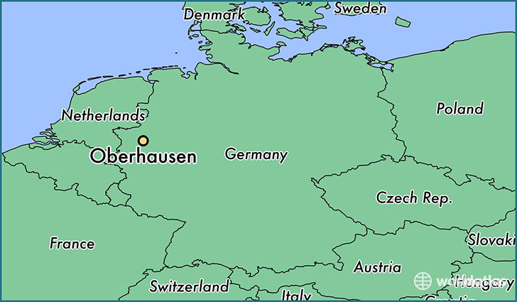 map showing the location of Oberhausen